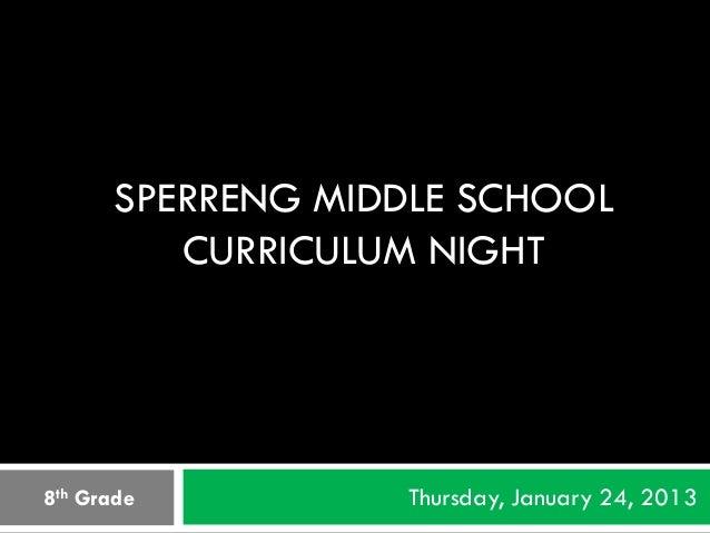 SPERRENG MIDDLE SCHOOL         CURRICULUM NIGHT8th Grade         Thursday, January 24, 2013