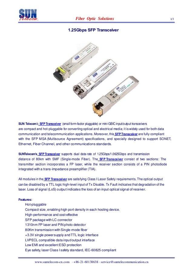 FiberOpticSolutions 1/31.25GbpsSFPTransceiverSUNTelecom'sSFP Transceiver(small...