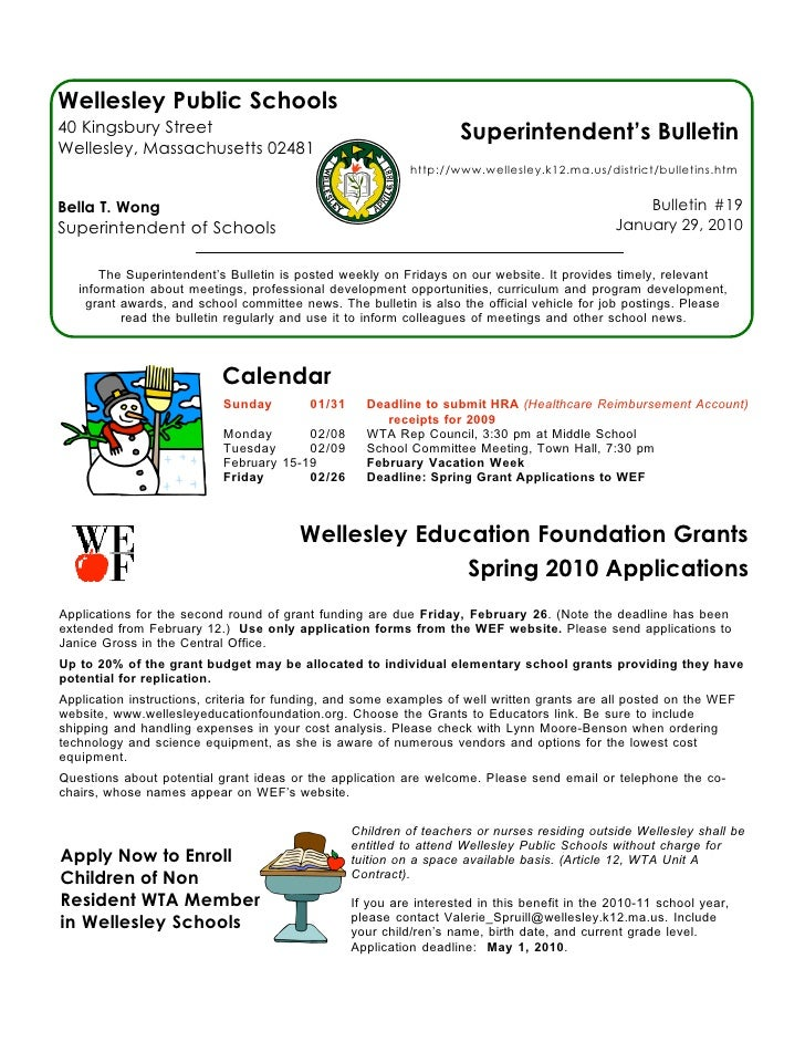 Wellesley Public Schools 40 Kingsbury Street                                                 Superintendent's Bulletin Wel...