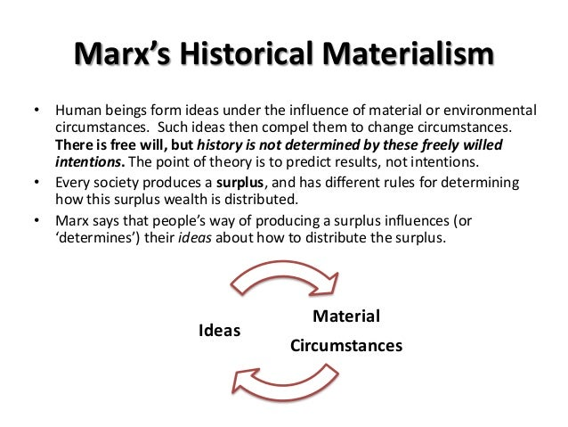 an analysis of historical materialism in the marxist ideology Marxism bases its method on historical analysis, maintain- ing that history unfolds  in an orderly, predictable manner and that a proper analysis of it reveals.