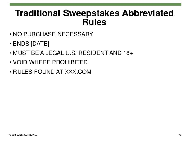 19 Traditional Sweepstakes Abbreviated Rules