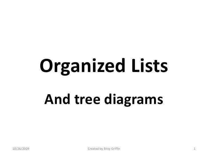 Organized Lists<br />And tree diagrams<br />10/12/2009<br />1<br />Created by Bitsy Griffin<br />