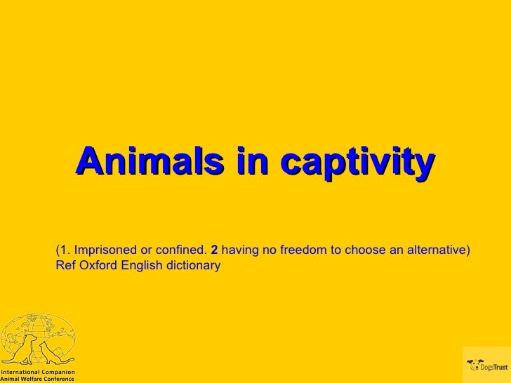 Animals in captivity (1. Imprisoned or confined.  2  having no freedom to choose an alternative)  Ref Oxford English dicti...