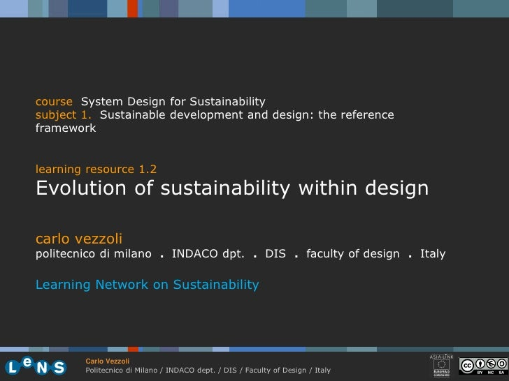 course System Design for Sustainability subject 1. Sustainable development and design: the reference framework   learning ...