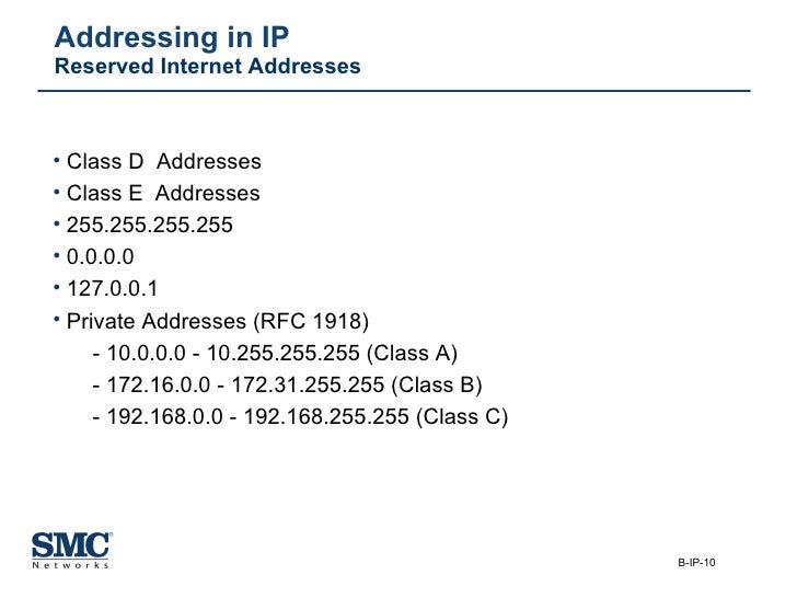 Addressing in IP Reserved Internet Addresses <ul><li>Class D  Addresses </li></ul><ul><li>Class E  Addresses </li></ul><ul...