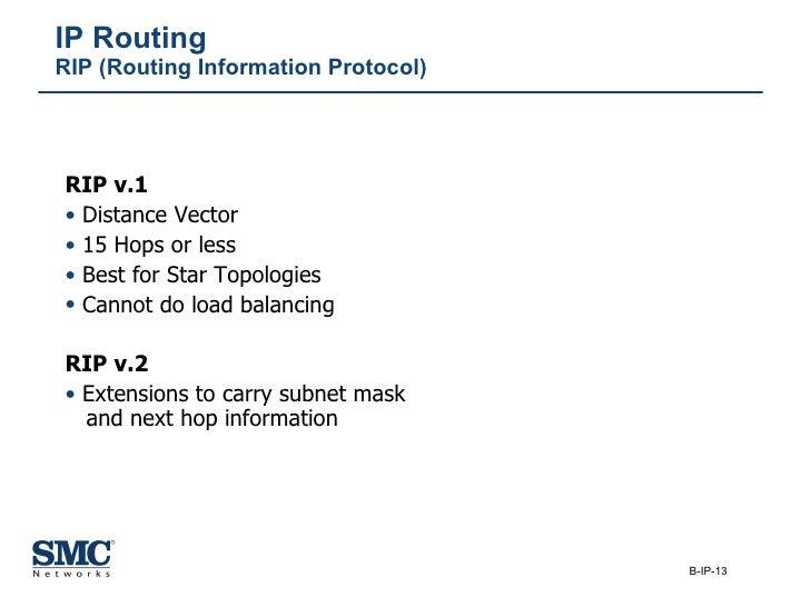 IP Routing RIP (Routing Information Protocol) <ul><li>RIP v.1 </li></ul><ul><li>Distance Vector </li></ul><ul><li>15 Hops ...