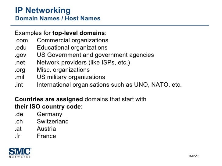IP Networking Domain Names / Host Names Examples for  top-level domains : .com Commercial organizations .edu Educational o...