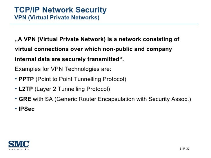 """TCP/IP Network Security VPN (Virtual Private Networks) <ul><li>"""" A VPN (Virtual Private Network) is a network consisting o..."""