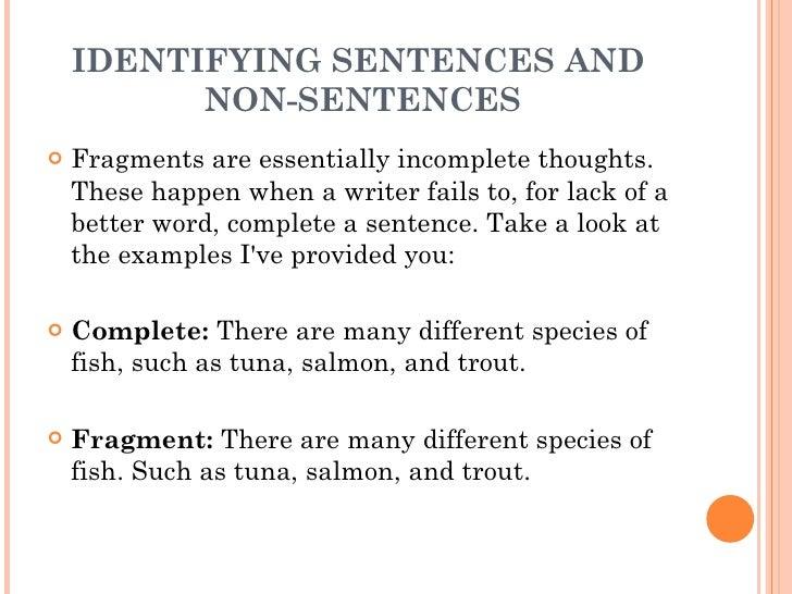 1 2 the sentence 1 identifying sentences and non sentences. Black Bedroom Furniture Sets. Home Design Ideas