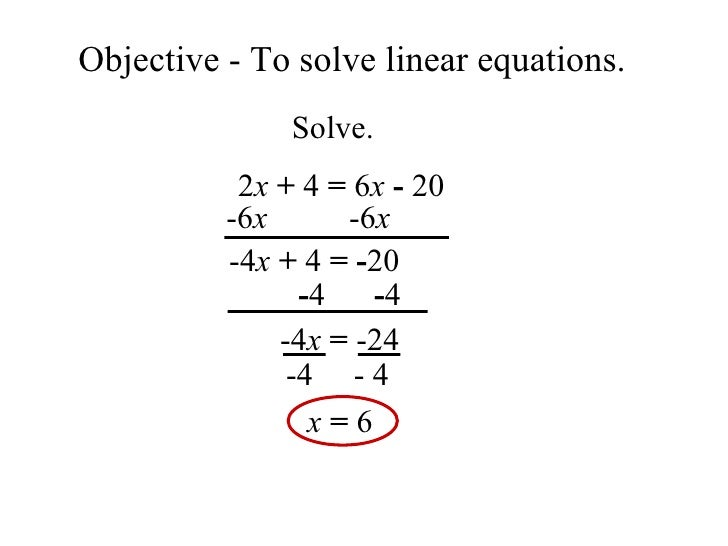 By Drawing The Line Y Solve The Equations : Solving linear equations