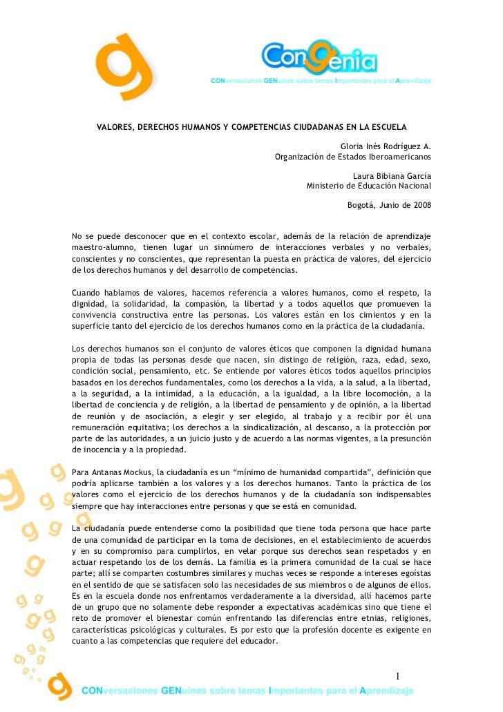 VALORES, DERECHOS HUMANOS Y COMPETENCIAS CIUDADANAS EN LA ESCUELA                                                         ...