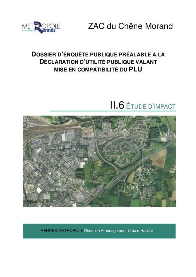 ZAC du Chêne Morand DOSSIER D'ENQUÊTE PUBLIQUE PRÉALABLE À LA DÉCLARATION D'UTILITÉ PUBLIQUE VALANT MISE EN COMPATIBILITÉ ...