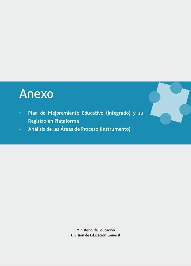 Anexo•   Plan de Mejoramiento Educativo (Integrado) y su     Registro en Plataforma•   Análisis de las Áreas de Proceso ...