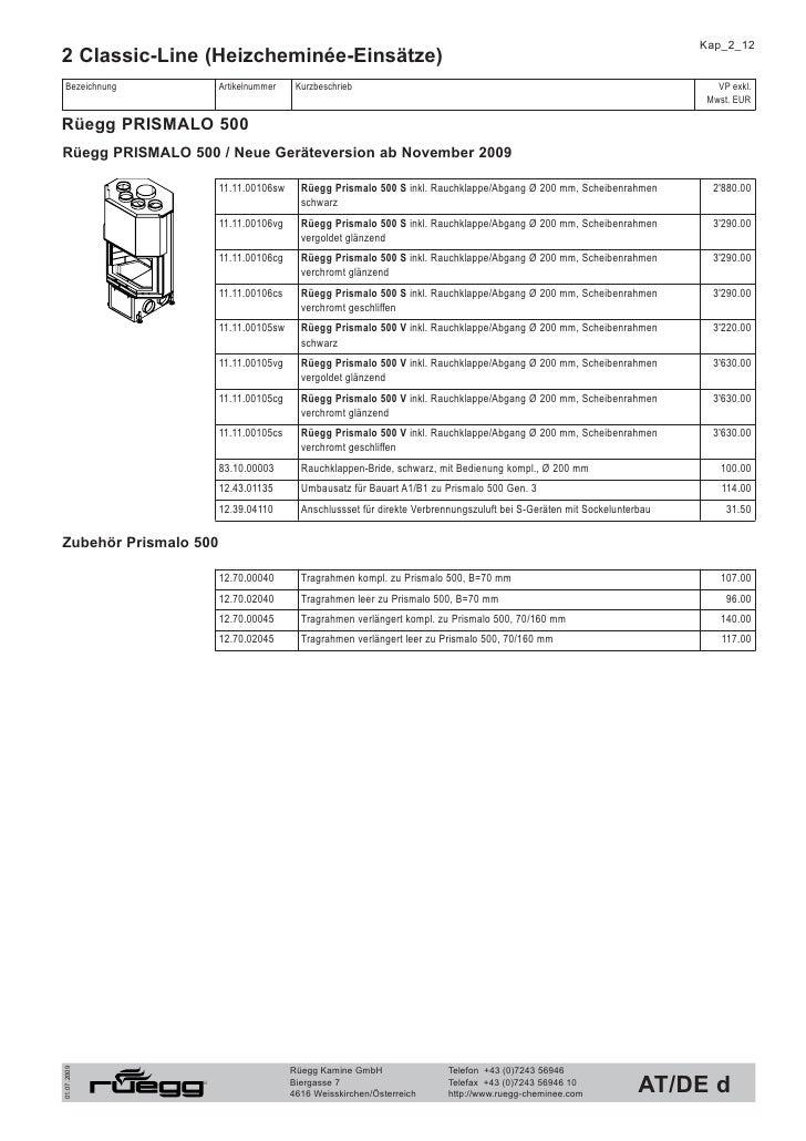 Kap_2_13 2 Classic-Line (Heizcheminée-Einsätze)  Bezeichnung        Artikelnummer    Kurzbeschrieb                        ...