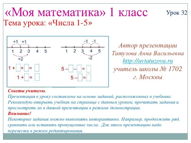 «Моя математика» 1 класс                                             Урок 32Тема урока: «Числа 1-5»                       ...