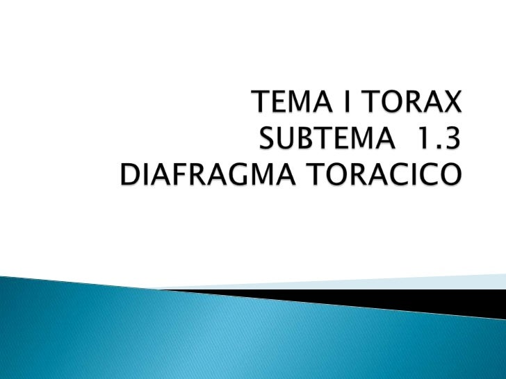 TEMA I TORAXSUBTEMA  1.3 DIAFRAGMA TORACICO<br />