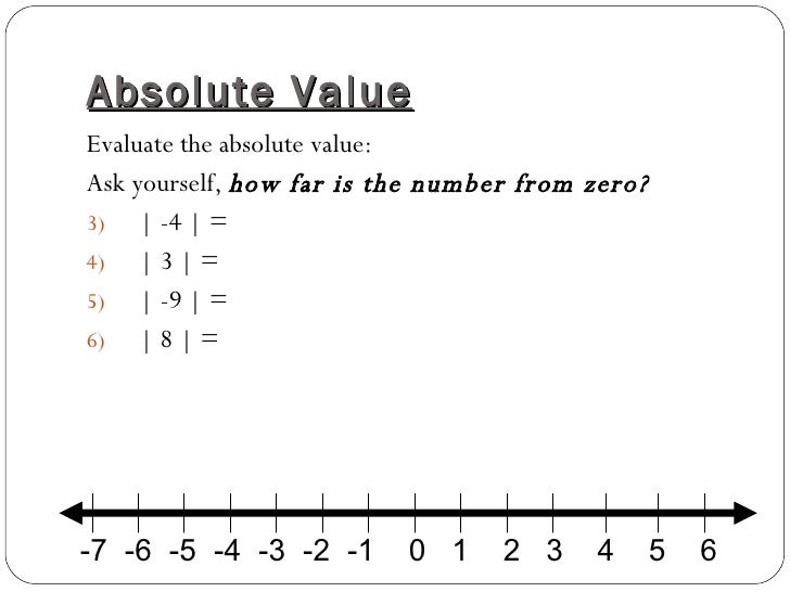 Integers and Absolute Value – Integers and Absolute Value Worksheet