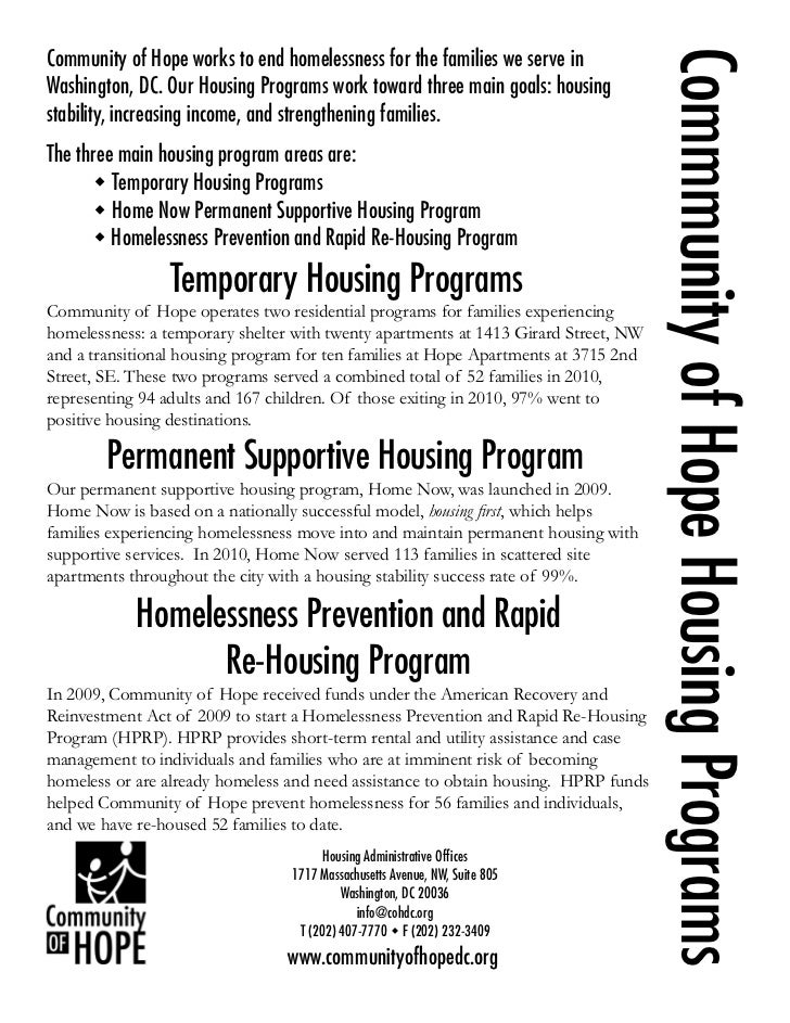 Commmunity of Hope Housing ProgramsCommunity of Hope works to end homelessness for the families we serve inWashington, DC....
