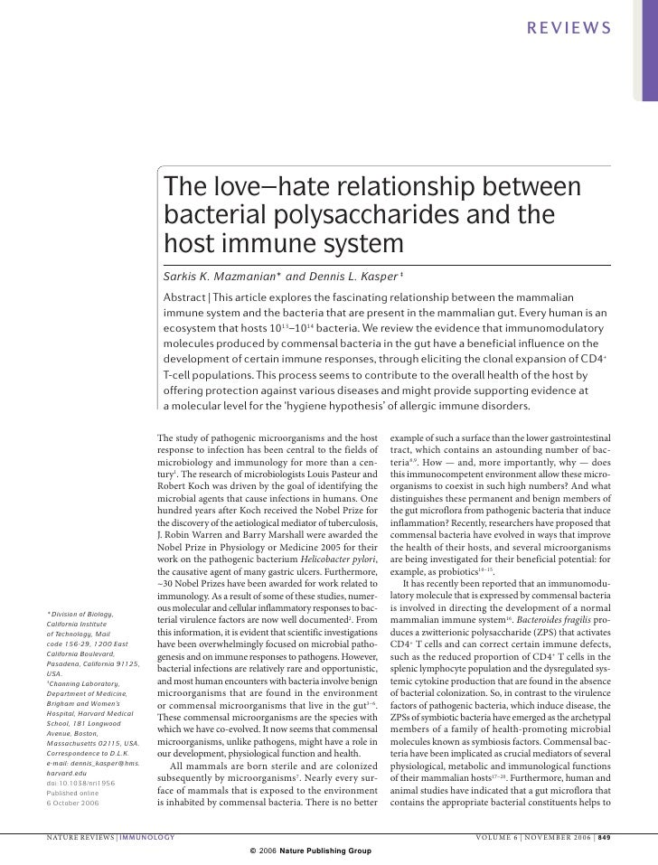 REVIEWS                                    The love–hate relationship between                                bacterial pol...