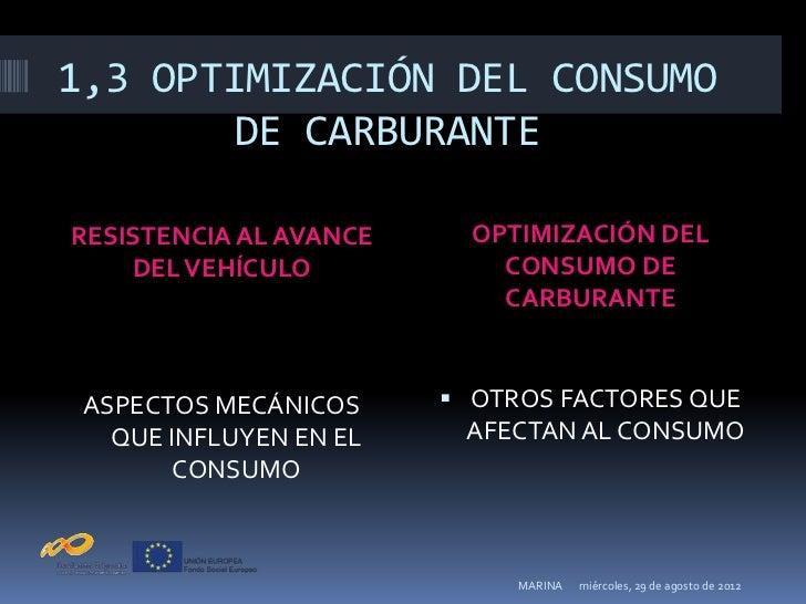 1,3 OPTIMIZACIÓN DEL CONSUMO        DE CARBURANTERESISTENCIA AL AVANCE     OPTIMIZACIÓN DEL    DEL VEHÍCULO            CON...