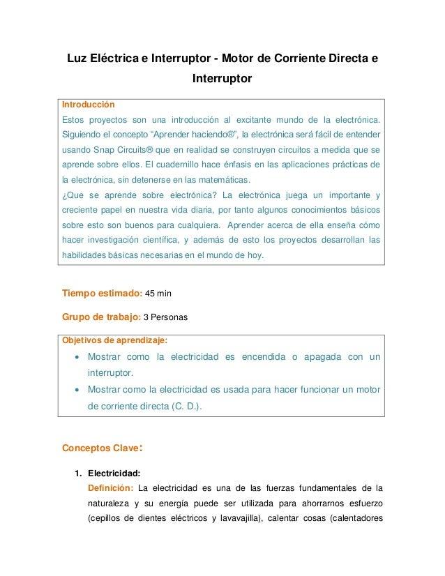 Luz Eléctrica e Interruptor - Motor de Corriente Directa e                                  InterruptorIntroducciónEstos p...