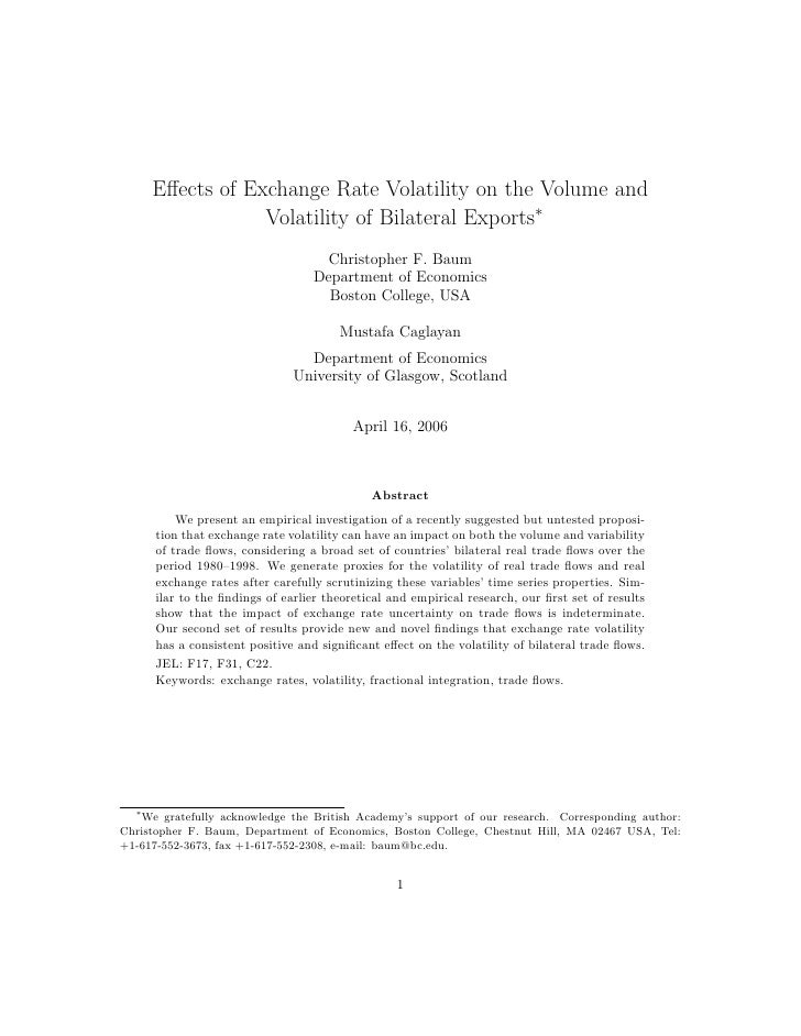 Effects of Exchange Rate Volatility on the Volume and                  Volatility of Bilateral Exports∗                    ...