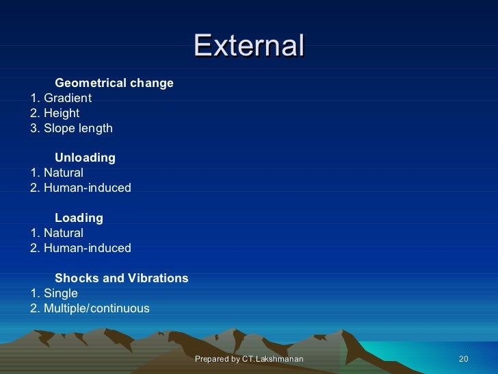 External     Geometrical change1. Gradient2. Height3. Slope length    Unloading1. Natural2. Human-induced    Loading1. Nat...
