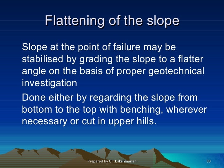 Flattening of the slopeSlope at the point of failure may bestabilised by grading the slope to a flatterangle on the basis ...