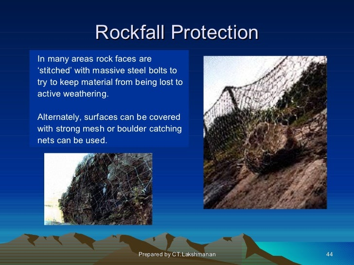 Rockfall ProtectionIn many areas rock faces are'stitched' with massive steel bolts totry to keep material from being lost ...