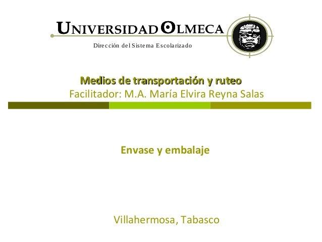 Dire cción de l S is te ma Es cola riza do  Medios de transportación y ruteoFacilitador: M.A. María Elvira Reyna Salas    ...