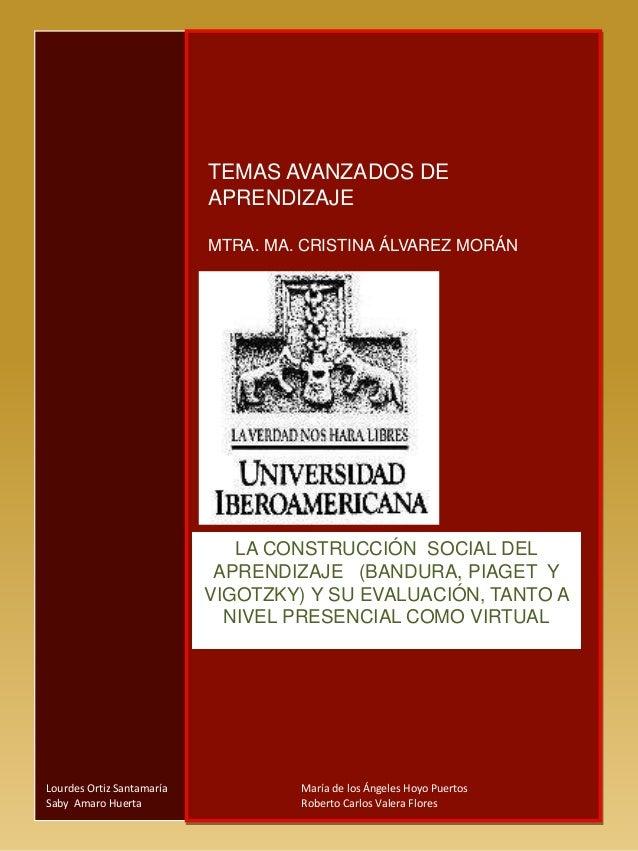 TEMAS AVANZADOS DE APRENDIZAJE MTRA. MA. CRISTINA ÁLVAREZ MORÁN LA CONSTRUCCIÓN SOCIAL DEL APRENDIZAJE (BANDURA, PIAGET Y ...