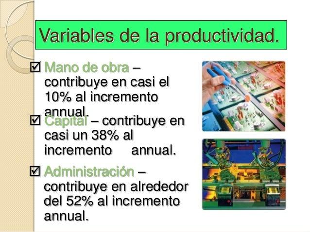 Variables de la productividad. Mano de obra –  contribuye en casi el  10% al incremento  annual. Capital – contribuye en...