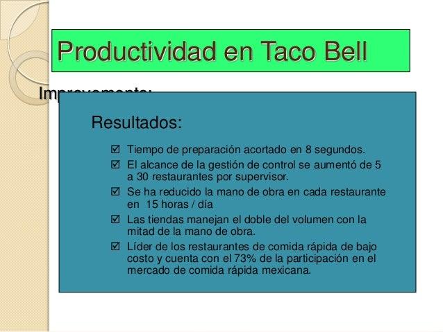 Productividad en Taco BellImprovements:     Revised the menu     Resultados:     Designed meals for easy preparation    ...