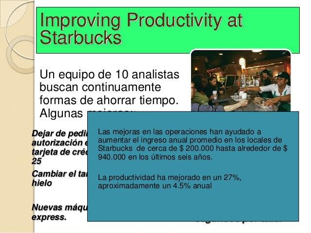 Improving Productivity at  Starbucks  Un equipo de 10 analistas  buscan continuamente  formas de ahorrar tiempo.  Algunas ...