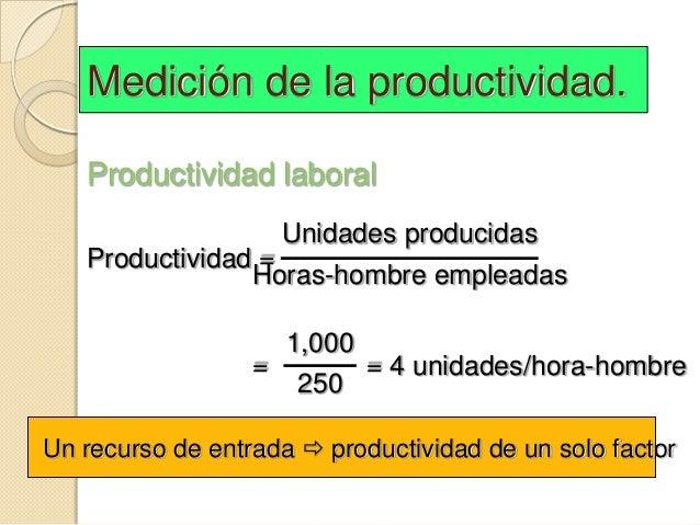Medición de la productividad.   Productividad laboral                      Unidades producidas   Productividad =          ...