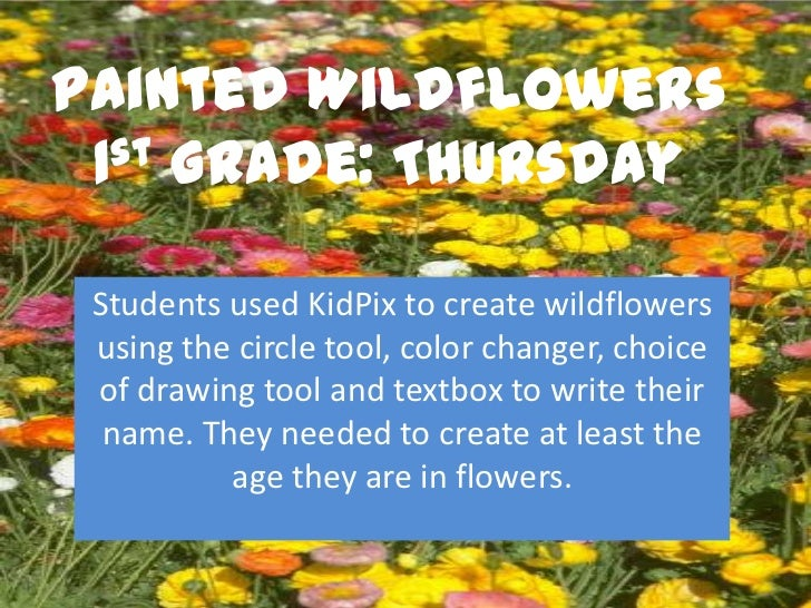 Painted Wildflowers 1st Grade: Thursday Students used KidPix to create wildflowers using the circle tool, color changer, c...