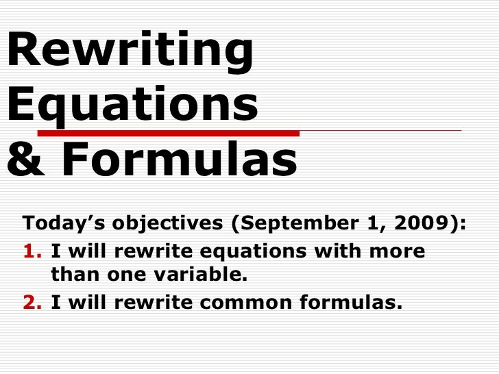 1.4 rewriting equations and formulas