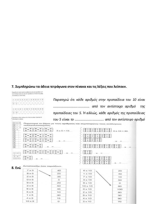 7. Συμπληρώνω τα άδεια τετράγωνα στον πίνακα και τις λέξεις που λείπουν. Παρατηρώ ότι κάθε αριθμός στην προπαίδεια του 10 ...