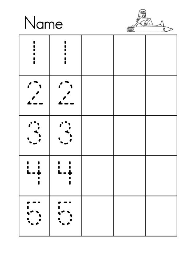 NUMBERS TRACING 1 - 5