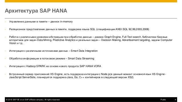© 2015 SAP SE or an SAP affiliate company. All rights reserved. 4Public Архитектура SAP HANA • Управление данными в памяти...