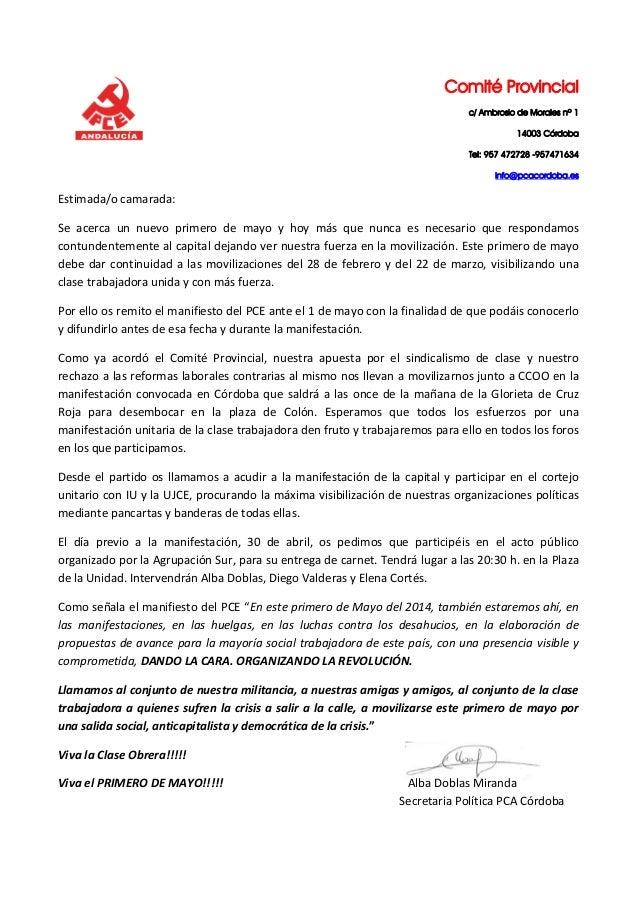 Carta de Alba Doblas Secretaria Política Provincial sobre el 1º de Mayo