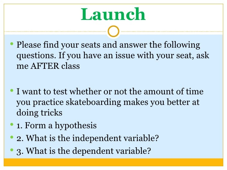 Launch <ul><li>Please find your seats and answer the following questions. If you have an issue with your seat, ask me AFTE...