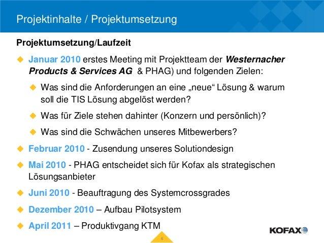 Projektinhalte / ProjektumsetzungProjektumsetzung/Laufzeit Januar 2010 erstes Meeting mit Projektteam der Westernacher  P...