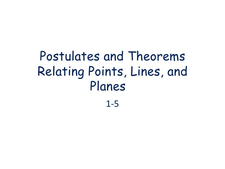 Postulates and Theorems Relating Points, Lines, and Planes 1-5