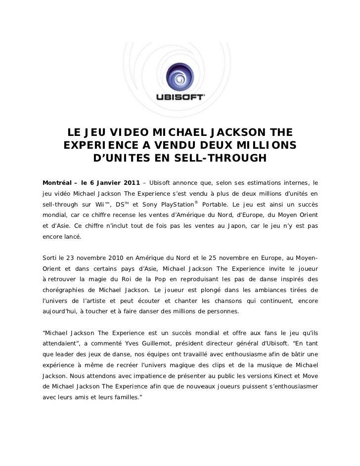 LE JEU VIDE MICHAEL JACK            U     EO        L   KSON THE       EXPER       E   RIENCE A VE                 E    EN...