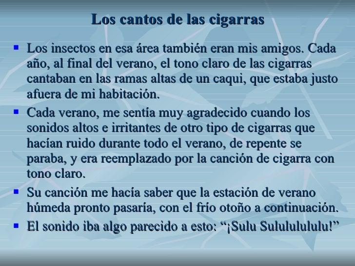 Los cantos de las cigarras <ul><li>Los insectos en esa área también eran mis amigos. Cada año, al final del verano, el ton...