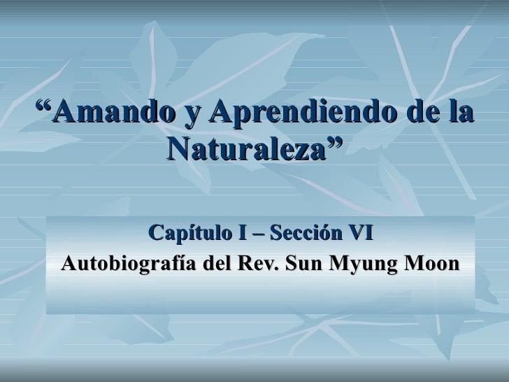 """"""" Amando y Aprendiendo de la Naturaleza"""" Capítulo I – Sección VI Autobiografía del Rev. Sun Myung Moon"""