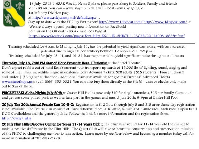 18 July 2013 1-63AR Weekly News Update: please pass along to Soldiers, Family and Friends of 1-63 AR. You can always stay ...