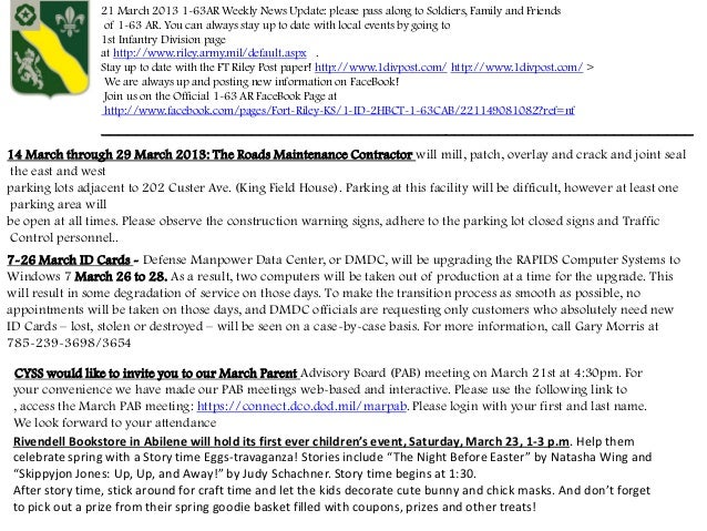 21 March 2013 1-63AR Weekly News Update: please pass along to Soldiers, Family and Friends                  of 1-63 AR. Yo...