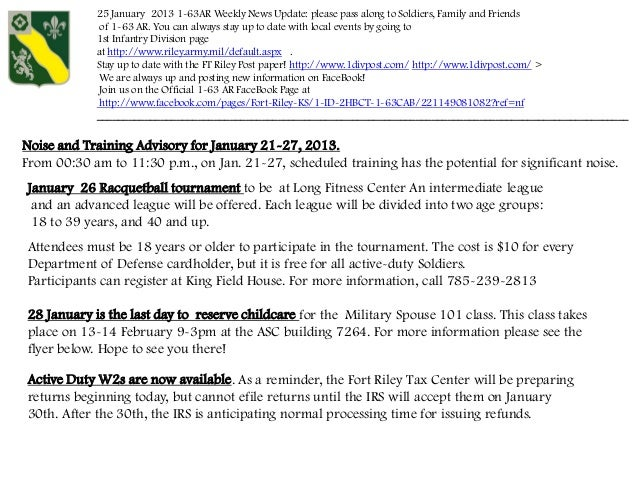 25 January 2013 1-63AR Weekly News Update: please pass along to Soldiers, Family and Friends             of 1-63 AR. You c...